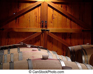 Oak and Cedar - Oak wine barrels in front of Cedar doors A...