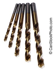 Drill Bits - different size drill bits on a white background