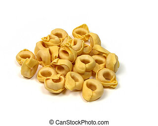 Dry tortellini-Italian food-isolated over white