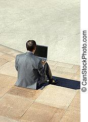 affärsman,  laptop, arbete