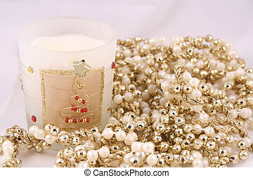 Candle and Beads - Christmas candle and beaded garland