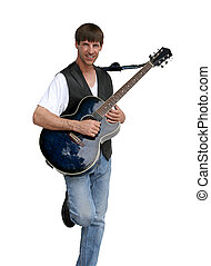 Blues Musician - A good looking blues guitarist, isolated