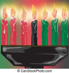 Kwanza candles close up - Kwanza candles burning