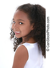 Child Girl Portrait - Profile of beautiful little six year...