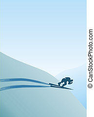 Skiing - Illustration of skier in mountain