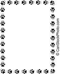 Dog pawprint frame - Frame of black pawprints