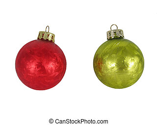 Green and red frosted Christmas ornament