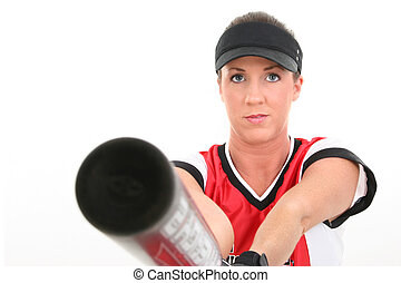 Woman Softball Sport - Close up of female softball player...