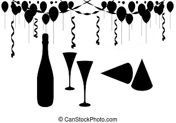 Celebration Party - Illustrated party scene isolated, black...