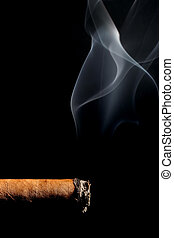 cigar smoking over black - cigar smoking - macro over black...