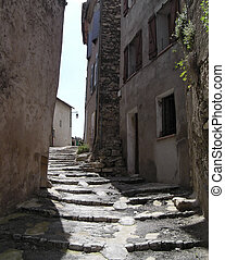 stairs street in Provence - Medieval stair street in Callas,...