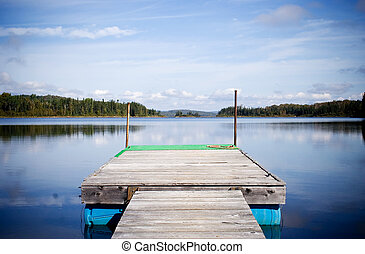 Small deck on lake