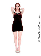 Teen Woman Dress - Beautiful young woman wearing a burgandy...