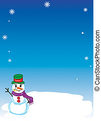 Winter Snowman background - Winter snowman background with...