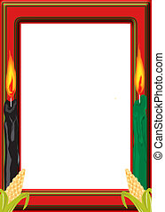 Kwanza border with corn and candles