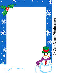Winter border with snowflakes and a snowman.