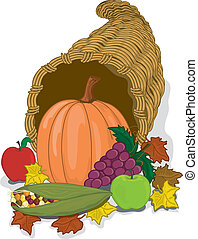 Cornucopia - Full color illustration of a cornucopia (horn...
