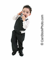 Boy Child Suit Phone - Excited toddler boy in suit speaking...