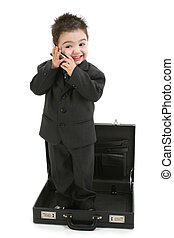 Stock Photography: Toddler Boy in Suit Standing in Briefcase