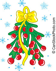 Christmas mistle toe - Vibrant illustration of a hnaging...