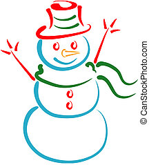 Snow man line art - Stylized lineart illustration of a...