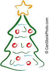 Tree line art - Christmas tree line art