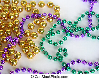 Mardi Gras beads - Close up of mardi gras beads