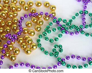 Mardi Gras beads - Close up of mardi gras beads