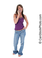 Woman Cellphone - Beautiful young woman in casual clothes...