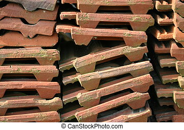 roofing tiles - Pile of used roofing tiles