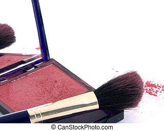 brush and powder 4 - isolated blush brush and powder
