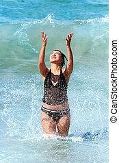 Splashing woman