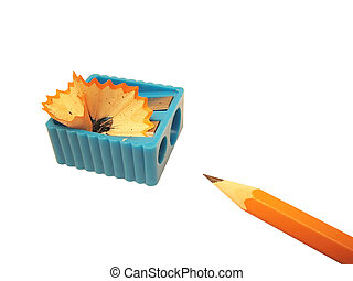 Pencil and sharpener - Isolated pencil and sharpener