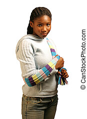 Coy W/ Clipping Path - A beautiful teenage girl isolated on...