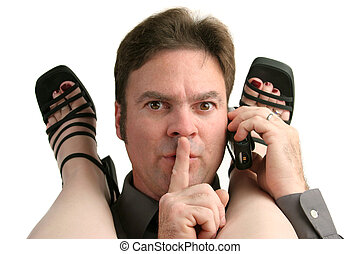 Be Quiet - A man having an office affair answering his cell...