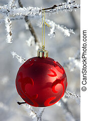 Christmas Bauble - Red Christmas Decoration Hanging On A...
