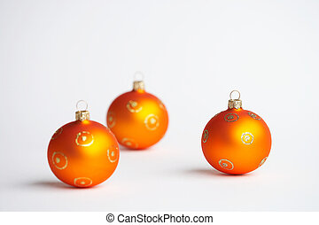 orange christmas bal - three orange christmas tree balls -...