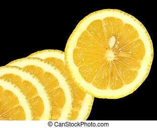 Lemon Slices - Lemon slices on a black background