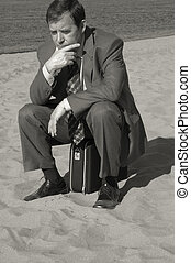 businessman deep in thought - deep in thought