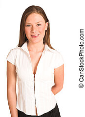 Business Woman #200(GS) - Business woman dressed white top.