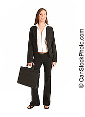 Business Woman 201GS - Business woman dressed a suit Holding...