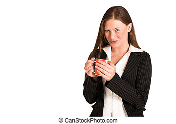 Business Woman 218GS - Business woman dressed in a pinstripe...