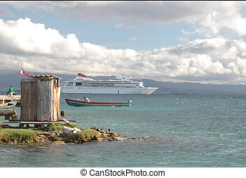 panama1159 - contrast of cruise ship, native boat and out...