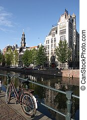 Amsterdam bicycle - Bicycle on Amsterdam canal with...