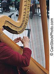 mãos, harpa