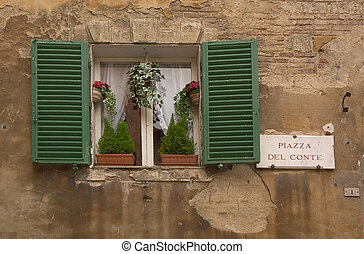 Green Window - Window in Sienna, Tuscany, Italy