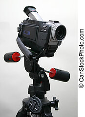 Camcorder on the tripod - Mini-DV camcorder fixed on the...