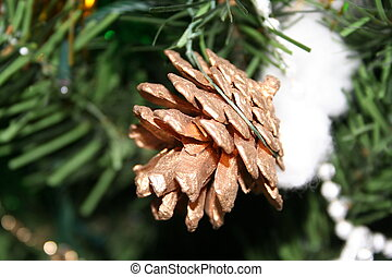Christmas pine cone - pine cone decoration on Christmas...