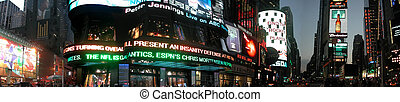 Time square by night panorma