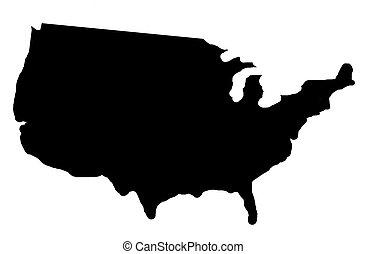 sombra, mapa, estados unidos de américa